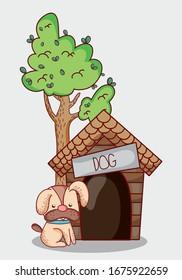 cute animals, puppy dog sitting house apple sun cartoon vector illustration