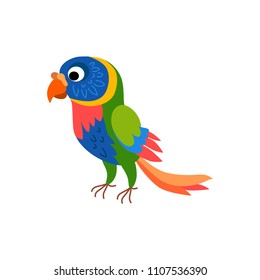 Cute animals - rainbow lorikeet parrot. Illustrations for children. Baby Shower card. Cartoon character bird parakeet isolated on white background. Tropical animal wildlife