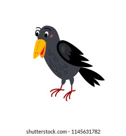 Cute animals - raven. Illustrations for children. Baby Shower card. Cartoon character bird isolated on white background. North America, Europe and Asia animal wildlife