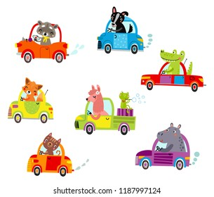 Cute animals ride on the car