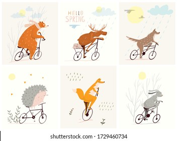 Cute animals riding bicycles, bear, fox, bunny, hedgehog and moose enjoying a ride. Clipart wild animals characters cycling design for kids. Vector flat nursery art.