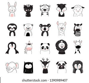 Cute animals in Scandinavian style. Vector illustrations for nursery design, print, poster, birthday greeting cards, t-shirts and kids wear. Little bunny, bear, tiger, fox, lama, sloth, unicorn, elephant.