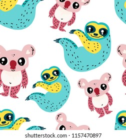 Cute animals seamless pattern. Pretty cartoon doodle zoo wallpaper. Repeating vector illustration. Sloth and koala