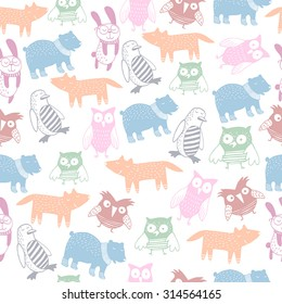 Cute animals seamless pattern.Kids background.