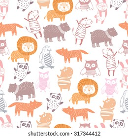 Cute animals seamless pattern.Kids background.Zoo