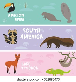 Cute animals set anteater manatee sea cow sloth toucan chameleon raccoon Maned wolf, kids background, South America animals Lake Titicaca, Amazon River bright colorful banner. Vector