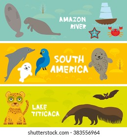 Cute animals set anteater manatee sea cow bat Hyacinth macaw dolphin seal jaguar, kids background, South America animals Lake Titicaca, Amazon River bright colorful banner. Vector