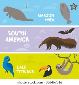 Cute animals set anteater manatee sea cow sloth toucan bat Hyacinth macaw, kids background, South America animals Lake Titicaca, Amazon River bright colorful banner. Vector