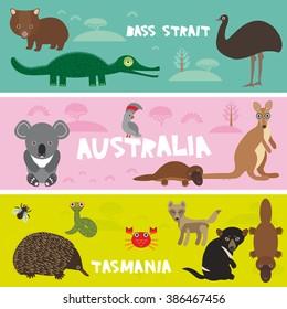 Cute animals set, Echidna koala  Platypus ostrich Emu Tasmanian devil parrot Wombat snake turtle crocodile kangaroo dingo kids background Australia, Tasmania Bass strait bright colorful banner. Vector