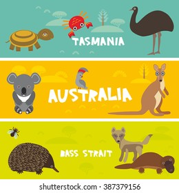 Cute animals set, Echidna koala Platypus ostrich Emu Cockatoo parrot turtle kangaroo dingo crab kids background Australia, Tasmania Bass strait Australian animals bright colorful banner. Vector