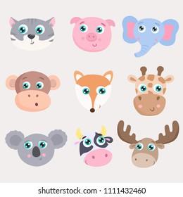 Cute animals set. Flat design