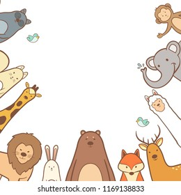 Cute animals set in hand drawn frame background