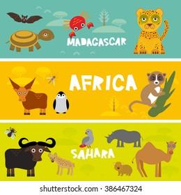 Cute animals set, leopard turtle crab penguin lemur bull hippo hyena parrot tsetse fly crab camel kids background African animals, Africa, Madagascar, Sahara Desert bright colorful banner. Vector