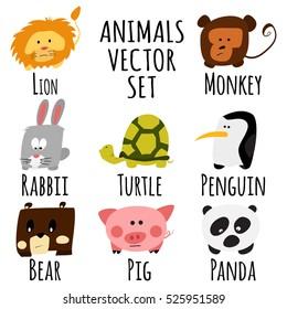 Cute animals set. Lion, monkey, rabbit, turtle, penguin, bear, pig, panda. Vector illustration flat design isolated on white background.