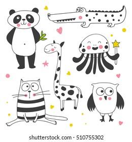 cute animals set  on a white background. Panda, cat, owl,crocodile, octopus, giraffe vector illustration