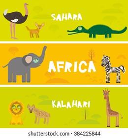 Cute animals set Ostrich Fennec fox crocodile elephant zebra lion hyena giraffe, kids background African animals, Africa Sahara Kalahari desert bright colorful banner. Vector