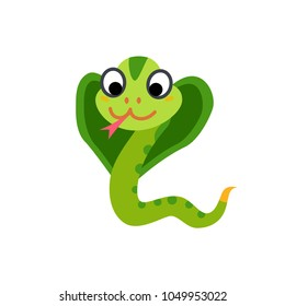 Cute animals - snake cobra. Illustrations for children. Baby Shower card. Cartoon character isolated on white background. Asian animal wildlife