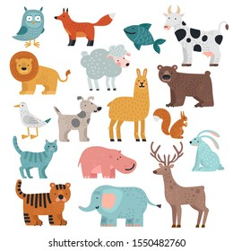 Cute animals. Tiger, owl and bear, elephant and lion, llama and deer, hare and dog, squirrel wild and farm cartoon animal vector set