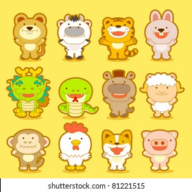 Cute animals & twelve zodiac