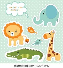 Cute animals in vector