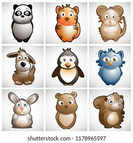 Cute Animals Vector Character Illustrations