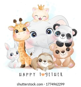 Cute animals with watercolor illustration