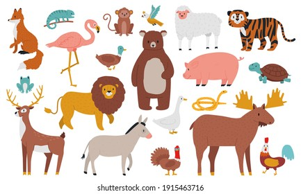 Cute animals. Wood, farm and jungle animals, fox, lion, bear, elk, deer, tiger and ship. Wild forest fauna animals cartoon vector illustration set. Deer and fox, snake and elk, duck and turtle