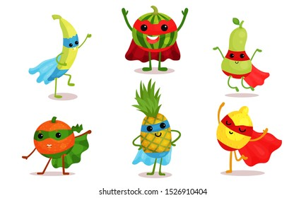 Cute Animated Fruits In Superhero Cloaks And Different Poses Cartoon Character Vector Illustration
