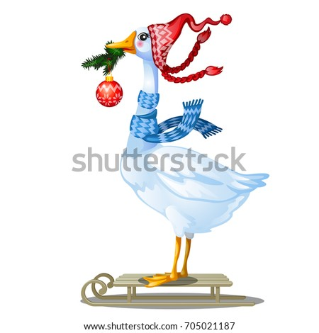 0d5e5b6bb9b Cute animated goose in knitted winter cap with pompom holding in its beak a  twig of