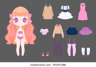 Cute anime chibi girl dress-up set