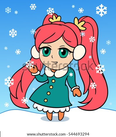 Cute Anime Chibi Little Girl Merry Stock-Vektorgrafik (Lizenzfrei ...