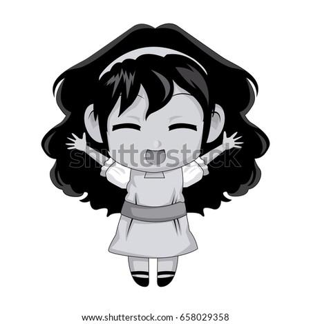 Cute Anime Chibi Little Girl Cartoon Stock Vektorgrafik Lizenzfrei