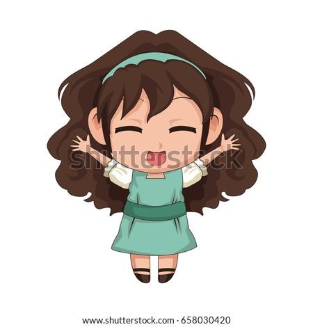 de23e424b Cute Anime Chibi Little Girl Cartoon Stock Vector (Royalty Free ...