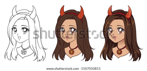 Cute Anime Devil Girl Portrait Three Stock Vector Royalty Free 1507050815