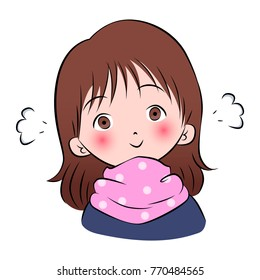 Cute Anime Girl In Cold Weather With Pink Polka Dot Scarf Vector Illustration
