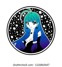 Cute anime girl with long  blue hair and big eyes. Hand drawn vector illustration. Shells and stars on background. Can be used for tattoo, sticker, cards, coloring book.