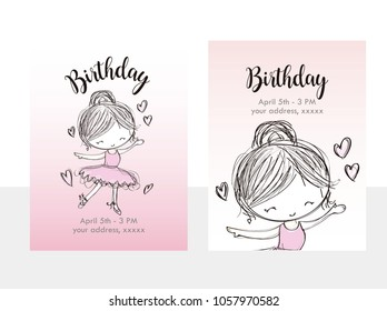 Cute aniversary balet celebration greeting and invitation With a Ballet Dancer Illustration, hearts, title and description.