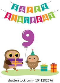 Cute anniversary card with owls. Vector editable template with balloon number for 9th birthday party