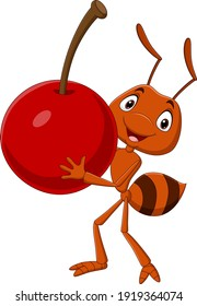 Cute ant cartoon carrying a cherry