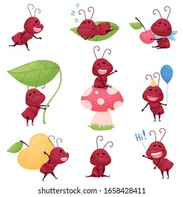 Cute Ant Character Sleeping and Carrying Big Apple Vector Illustrations Set