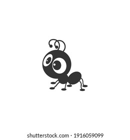 Cute ant silhouette vector icon on a white background