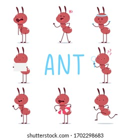 Cute ants vector cartoon characters set isolated on a white background.