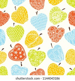Cute apple, endless pattern with flowers. Seamless pattern can be used for wallpaper, pattern fills, web page background, surface textures.