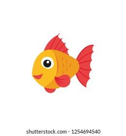 cute aquarium fish cartoon icon