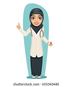 Cute Arab Doctor with Pill Medicine in Hand Forefinger up Advice Preaching Admonition Female Girl Character Isolated Icon Medic Retro Cartoon Design Vector Illustration