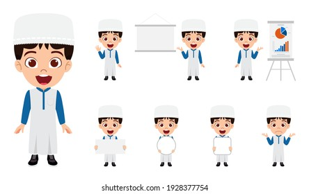 Cute Arab Muslim kid businessman character set wearing colorful Panjabi with different actions doing with cheerful expression
