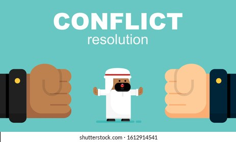Cute Arabic Businessman Resolves Conflict, Argument. Employee Stops Confrontation Acts as Mediator. Cartoon Flat Vector Illustration.