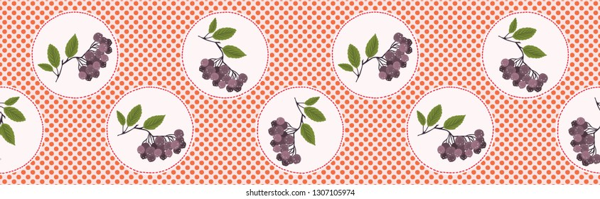 Cute aronia berries polka dot vector illustration. Seamless repeating border pattern. Hand drawn kawaii dotty chokeberry background. 1950's style retro kitchen decor, superfood fruit banner ribbon.