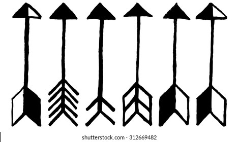 Cute arrows, hand drawn doodles set. Tribal, ethnic, hipster arrows sketch collection for design decoration