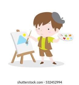 Cute artist kid painting scenery in canvas vector stock